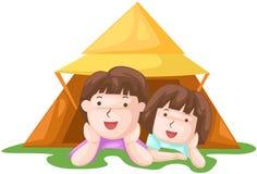 Kids camping stock illustration