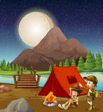 Kids camping in nature royalty free illustration