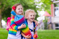 Kids with candy cone on first school day in Germany Royalty Free Stock Photos