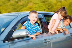 Kids in car Stock Photo