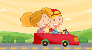 Kids in car Stock Images