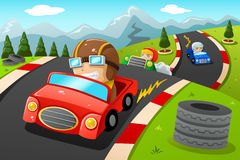 Kids in a car racing royalty free illustration