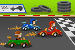 Kids in a car racing Royalty Free Stock Image