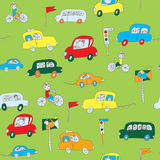 Kids in the car seamless pattern Stock Images
