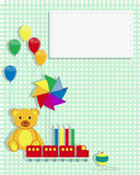 Kids Card toys. Invitation card for kids with cartoon teddy bear, toy train,  pinwheel, crayons and spinning top. Copy space Stock Photography
