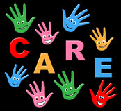 Kids Care Indicates Look After And Careful. Kids Care Representing Looking After And Toddlers Stock Images