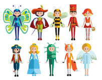 Kids And Carnival Costumes Collection Royalty Free Stock Image