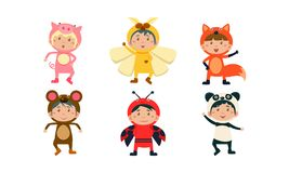 Kids in carnival costumes set, cute little boys and girls wearing insects and animals clothes, pig, bee, monkey, fox. Ladybug, panda bear vector Illustration stock illustration