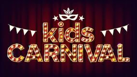Kids Carnival Poster Vector. Carnival Glowing Lamps. For Dance Party Flyer Design. Modern Illustration Stock Photos
