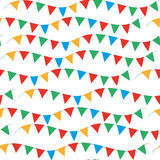 Kids, carnival seamless pattern with bunting, garlands. Bright festive background, texture with ribbons. Vector Stock Photos