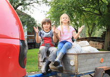 Kids on carriage Stock Photography