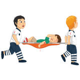 Kids Carry Stretcher Vector Illustration. 