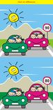 Kids and cars, game for children. Find ten differences Stock Images