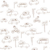 Kids and cars seamless  pattern Royalty Free Stock Image
