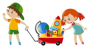 Kids and cart full of toys. Illustration Royalty Free Stock Image