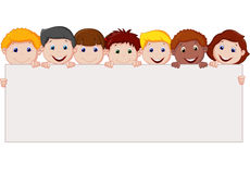 Kids cartoon with blank sign. Illustration of Kids cartoon with blank sign Royalty Free Stock Photo