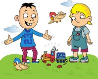 Kids cartoon with a broken toy train. To outdoor Royalty Free Stock Images