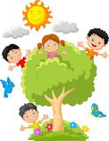 Kids cartoon playing on tree Royalty Free Stock Photos