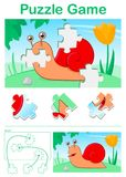 Kids cartoon puzzle game with colorful red snail Stock Photography