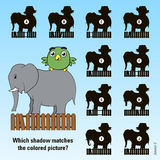 Kids cartoon puzzle - match the shadow Royalty Free Stock Photos
