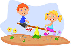 Kids cartoon riding on seesaw Stock Photos