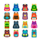 Kids cartoon schoolbag set stock illustration