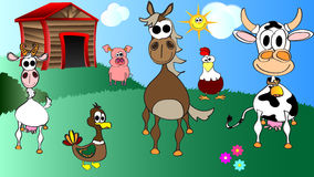 Kids cartoon vector of farm animals Royalty Free Stock Images