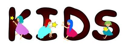Kids. Cartoon word kids on white background royalty free illustration