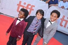 Kids cast at `Kings` premiere at Toronto international film festival in Toronto TIFF17. Aiden Akpan, Callan Farris, and Reece Cody at the `Kings` premiere during Royalty Free Stock Photography