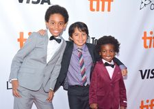 Kids cast at `Kings` premiere at Toronto international film festival in Toronto TIFF17. Aiden Akpan, Callan Farris, and Reece Cody at the `Kings` premiere during Royalty Free Stock Image