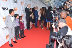Kids cast at `Kings` premiere at Toronto international film festival in Toronto TIFF17. Aiden Akpan, Callan Farris, and Reece Cody at the `Kings` premiere during Stock Photography