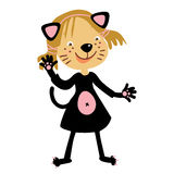 Kids cat costumes. Cute happy Kids with costumes, cat outfit. Vector children Royalty Free Stock Image