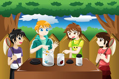 Kids catching bugs. A vector illustration of kids catching bugs and put them in a jar Royalty Free Stock Images