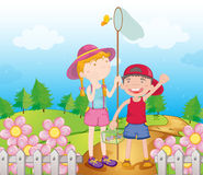 Kids catching butterflies. Illustration of kids catching butterflies in the garden Royalty Free Stock Images