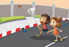 Kids catching butterflies at the street. Illustration of the kids catching butterflies at the street Royalty Free Stock Images