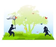 Kids Catching Butterflies in Summer stock illustration