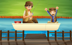 Kids catching fish. Illustration of kids catching fish in a boat Royalty Free Stock Images