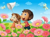 Kids catching flies. Illustration of kids catching flies in a garden Stock Photos
