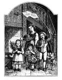 Children greetings and celebration, vintage engraving. Kids celebrate an adult with banner, reciting poem, offering flowers, wearth and cake, vintage Royalty Free Stock Photography