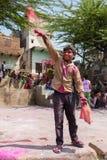 Kids celebrate Lathmar Holi in Barsana village, Uttar Pradesh, India. Stock Photos