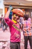 Kids celebrate Lathmar Holi in Barsana village, Uttar Pradesh, India. Stock Photography