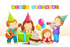 Kids Celebrating Birthday. Vector illustration of kids celebrating Birthday Stock Images