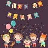 Kids celebrating Birthday. Happy kids celebrating Birthday. Vector greeting card Royalty Free Stock Photos