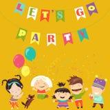 Kids celebrating Birthday. Happy kids celebrating Birthday. Vector greeting card Royalty Free Stock Image