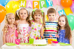 Kids celebrating birthday holiday Stock Photography