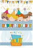 Kids celebrating birthday party. Card Stock Photo