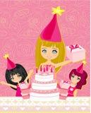 Kids celebrating a birthday party. A  illustration of kids celebrating a birthday party Stock Photo