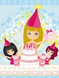 Kids celebrating a birthday party. Illustration Royalty Free Stock Photo