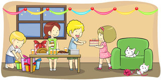 Kids celebrating a birthday party (vector) Stock Photography