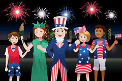 Kids Celebrating Fourth of July. A vector illustration of kids celebrating Fourth of July Stock Photography
